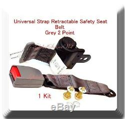 (1 Kit) Universal Strap Retractable Car Safety Seat Belt Grey 2 Point