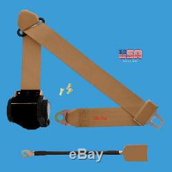 1 Kit of 3 Point Universal Strap Retractable & Adjustable Safety Seat Belt Beige