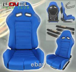 1 Pair Fully Reclainable Racing Blue Cloth Seats For Low Maxx Time Attack Drift