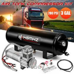 12V 3 Gal Air Tank 200 PSI Compressor Onboard System Kit For Train Truck Boat