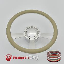 14 BILLET FULL WRAP 9 HOLE STEERING WHEEL With HORN BUTTON & ADAPTER For CHEVY