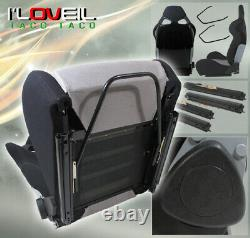 1x Black Gray Full Reclinable Cloth Bucket Racing Seat with Slider Set Universal