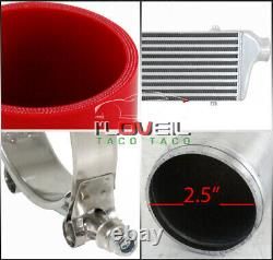 2.5 Front Mount Intercooler + 12Pcs Turbo Piping Diy Kit + Red Coupler + Clamps