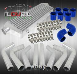 2.5 In/Outlet T-6061 Intercooler + Aluminum Pipe Piping Kit + Blue Couplers Jdm