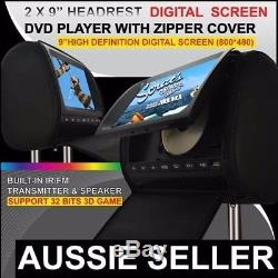 2 x 9 inch HD Headrest Car DVD Player Rear Monitor with Pillow 2 DVD For Dodge