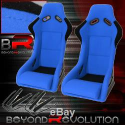 2X Automotive Full Bucket Road Racing Seats With Slider Rails Spg Profi Style Blue