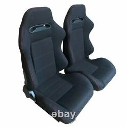 2X Black Reclinable Racing Seats Cloth Red Stitch Left+Right Slider Brackets