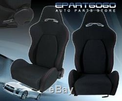 2X Black Red Stitch Cloth Jdm Reclinable Sport Race Bucket Seats WithSlider Rails