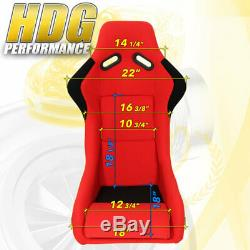 2X Full Bucket Racing Safety Seat Pro Racer Spg Profi Style Red Black Cloth