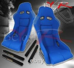 2X JDM Firm Hold Track Style Full Cloth Racing Bucket Seats With Slider Rails Blue