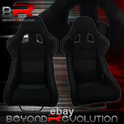 2X Non-Reclinable Black Cloth Racing Bucket Seats With Red Stitching + Sliders