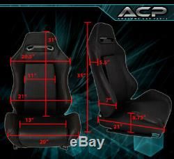 2X Reclinable Bucket Seats Chairs Jdm Drift Race + Slider Rails Black Left+Right