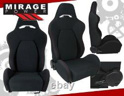 2X Universal Reclinable Racing Bucket Seats Automotive Car Black with Red Stitches