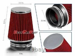 3.5 Inches 3.5 89 mm Cold Air Intake Narrow Cone Filter Quality RED Dodge