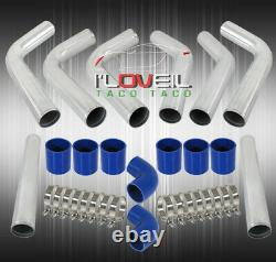 3 8 Pcs Turbo Intercooler Piping Kit + Blue Couplers + Bolts Clamps Universal