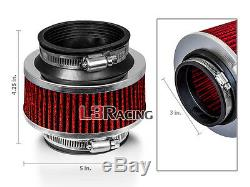 3 Inch 76mm Universal Type ByPass Valve RED Filter For Dodge Cold Air Intake