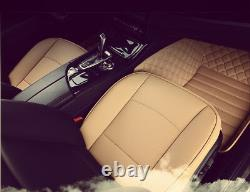 3pc Luxury PU Leather Car Seat Cover Protector Front+Rear Seat Cushion Mat Beige