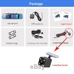 4G 8'' Car DVR Touch Adas Rearview Cam Remote Monitor Dual Lens Android Wifi GPS