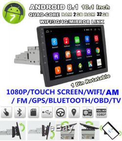 4G Full Netcom 10.1 Touch Screen Rotatable Android 8.1 Car Stereo GPS Quad-core