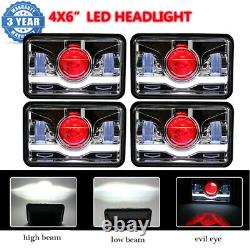 4PC 4x6 inch 120W LED Headlights DRL For Peterbilt Freightliner FLD 120 FLD112