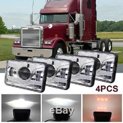 4x 4X6'' LED Headlight Sealed H4656 H4651 Bulb For Jeep Peterbilt Kenworth Chevy