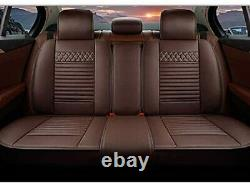 5 Seat Car Seat Cover Full Set Headrest Lumbar Cushion for Chrysler Coffee color