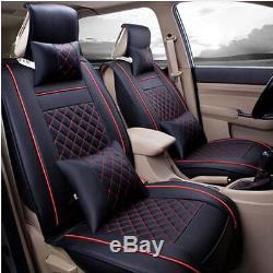 5 Seats Full Set Luxury PU Leather Car Seat Covers Cushion with Pillows Universal