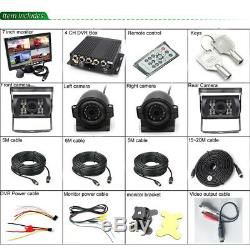 7LCD Monitor 4CH AHD DVR Realtime Video Recorder CCD 4 Camera for Car Truck Bus