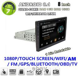 8 1Din 1080P Rotatable Car Quad-core Android 8.1 Stereo GPS Wifi 1+16G+Camera