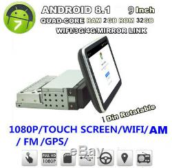 9 in Single Din Car FM USB AUX MP5 Player Touch Screen Stereo Radio Android 8.1