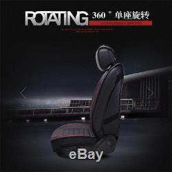 Black Leather 2018 Car Seat Covers Cushion 5-Seat Adjustable Backseat with Pillow