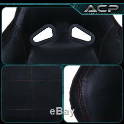Black Leather Racing Seat With Red Stitching Fiberglass Reclinable + Sliders