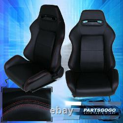 Black Type-R Cloth Racing Bucket Seats Fully Reclinable Red Stitching Pairs (2X)
