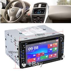 Bluetooth Car Stereo HD DVD CD Player 6.2 Double 2Din Radio In-Dash + Map Card