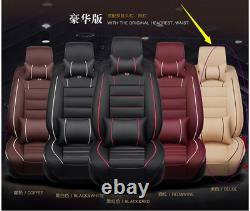 Car Front&Rear Seat Cover 5-Seats Cushions WithNeck Lumbar Pillows Beige Interior