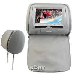 Car Headrest Monitors 7 LCD withDVD Player/USB/IR Remote SD Games Headphone Grey