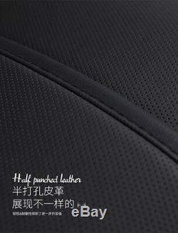Deluxe Comfortable PU Leather BlackWhite Seat Cover Cushion Set For 5 Seat Car