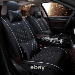Deluxe Edition Auto Car Seat Cover 2 Front Seat Cushion PU Leather with Pillows
