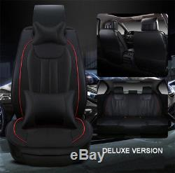 Deluxe Edition Car Seat Cover Set Breathable PU Leather for Most 5-Seats Cushion