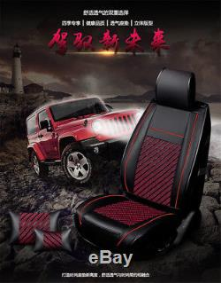 Deluxe PU Leather+Ice Silk 6D Car Seat Covers 5 Seats Full Set All Seasons (USA)