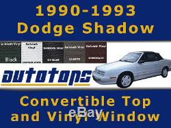 Dodge Shadow top and plastic window COLOR CHOICE WARRANTY