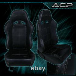 For Ford Off Road Pvc Leather Bucket Racing Seat Pair Fully Reclinable Black