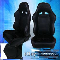 For Honda Pvc Red Stitch Black Reclining Racing Seats Pair Civic Del Sol Accord