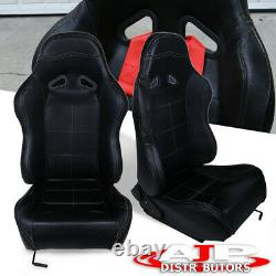 For Mitsubishi Subaru Pvc Leather Bucket Racing Seat Pair Fully Reclinable Black