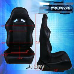 For Pvc Red Stitching Black Reclining Racing Seats Pair Corolla Celica Mr2