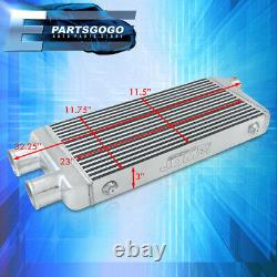 For Universal 2 Inlet to 1 Outlet FMIC Front Mount Intercooler 32.25x11.75x3