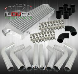 Front Mount Intercooler Bar And Plate+Turbo Piping Pipe Kit Polish