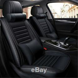 Full Set Seat Cover PU leather Front and Rear Cushion Mat + Head Lumbar Pillow