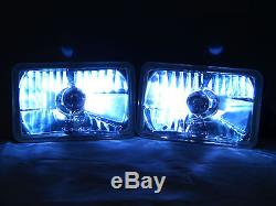 GENSSI 4x6 H4666 Square Chrome Clear Housing Glass Lens H4 Headlight Lamp 2 pack