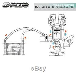 Gplus 28 Row AN10 Engine Oil Cooler + Filter Adapter Kit + 7 Fixed Cooling Fan